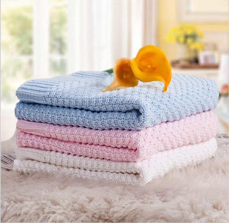 Hot!Factory Direct! Dropshipping Infant Blanket Solid White Newborn Baby Blanket Cotton Knitted Kids Blanket Unisex Blanket chic quality casual style solid color cotton pattern knitted blanket