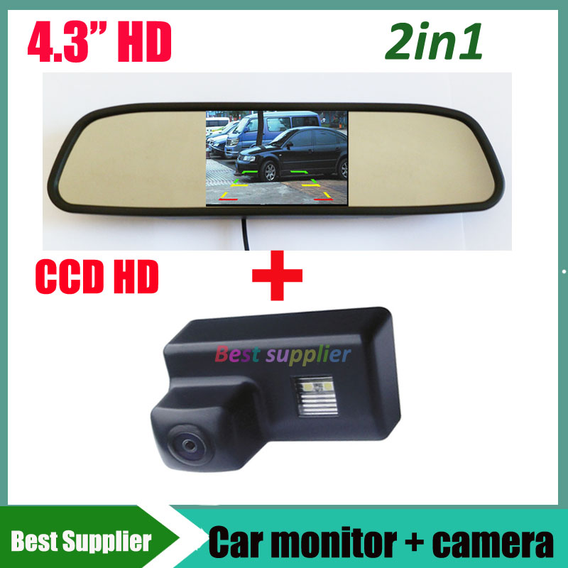 2in1 Car LCD Mirror monitor HD CCD car rear view parking camera For Peugeot 206 207