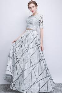 Image 5 - Vestido largo de fiesta para dama de honor, sexy, con lentejuelas, Media manga, color gris