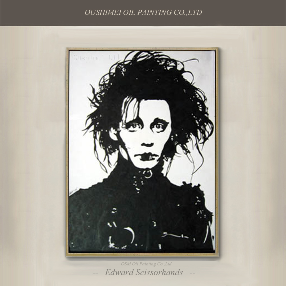 Skills artist hand painted easy designed edward for White and black paintings