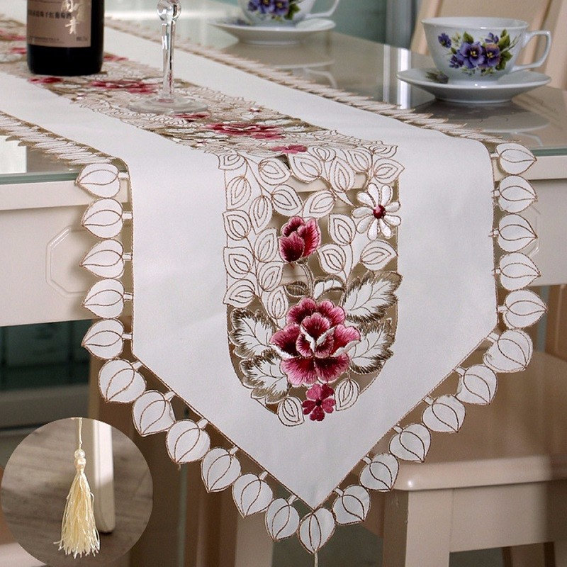 Europe Style Embroidered Floral Lace Edge Wedding Table Runner  Dustproof Covers For Table Home Party Table Cloths High Quality
