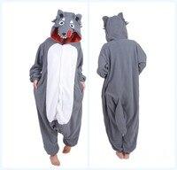 Brown Grey Timber Wolf Pajamas Animal Winter Unisex Pijamas Onesies Adult Cartoon Animal Cosplay Homewear Pyjama