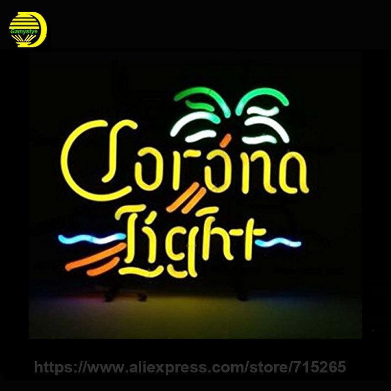 Palm Tree Neon Sign Glass Tube Corona Light Neon Tube Recreation Handcrafted Indoor Lamp Frame Sign Store Display Iconic 24x20
