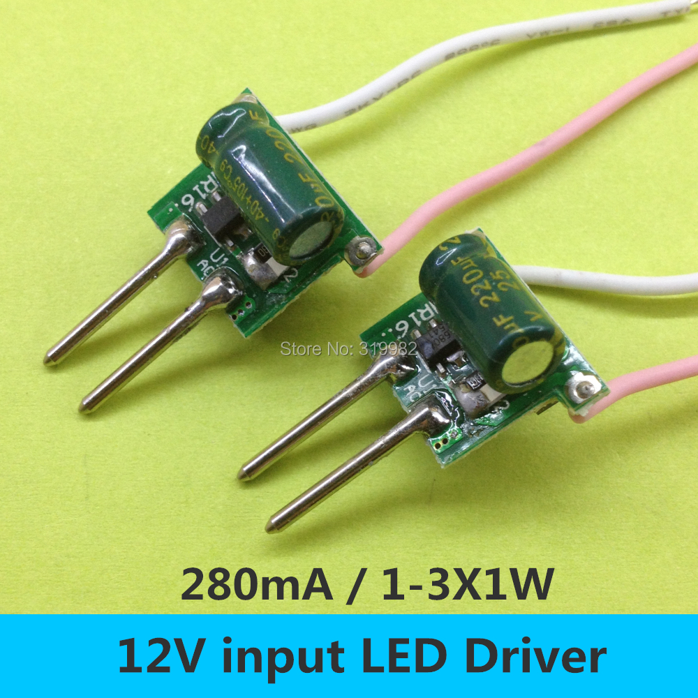 5 PCS <font><b>MR16</b></font> <font><b>12V</b></font> <font><b>LED</b></font> Driver 1-3X1W Low voltage Power Supply 2 feet 280MA Constant Current 1W 3W High Power Lamp Transformer