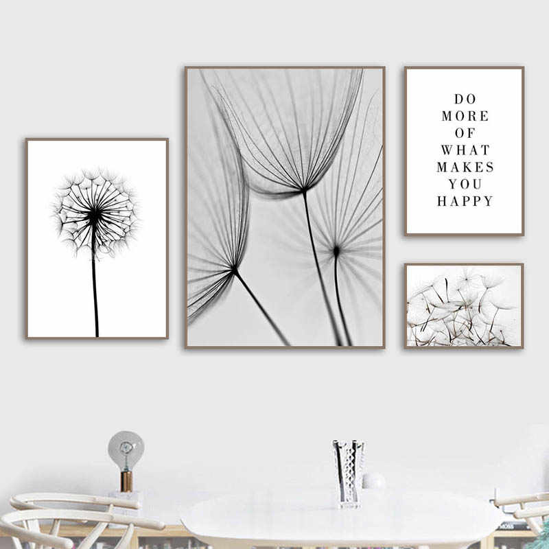 Nordic Canvas Prints Poster Dandelion Quotes Black White Pictures Wall Art Modular Bedside Background Painting Home Decor