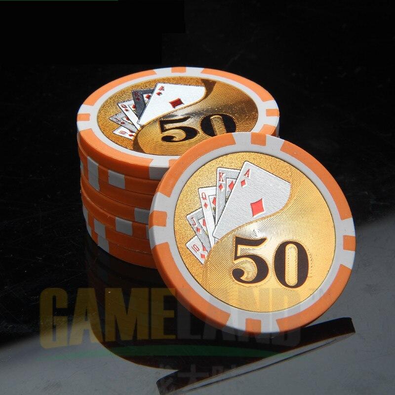 Poker Chips Professional Poker Coins Casino Chip Laser refractive Sticker Chips Casino Chips Texas Holdem Wholesale fichas poker