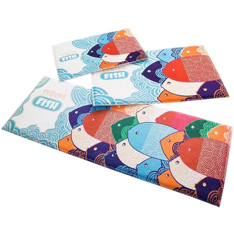 2017 New Stripe Fish Print Doormat Carpet Antislip Absorbent Bath Rug  Kitchen Mat Kids Bedroom Area