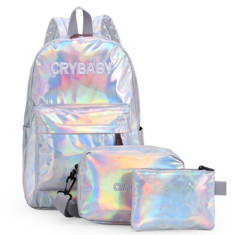 2019 Holographic Laser Backpack Embroidered Crybaby Letters Hologram Backpack set School Bag +shoulder bags +penbags 3pcs/set(China)