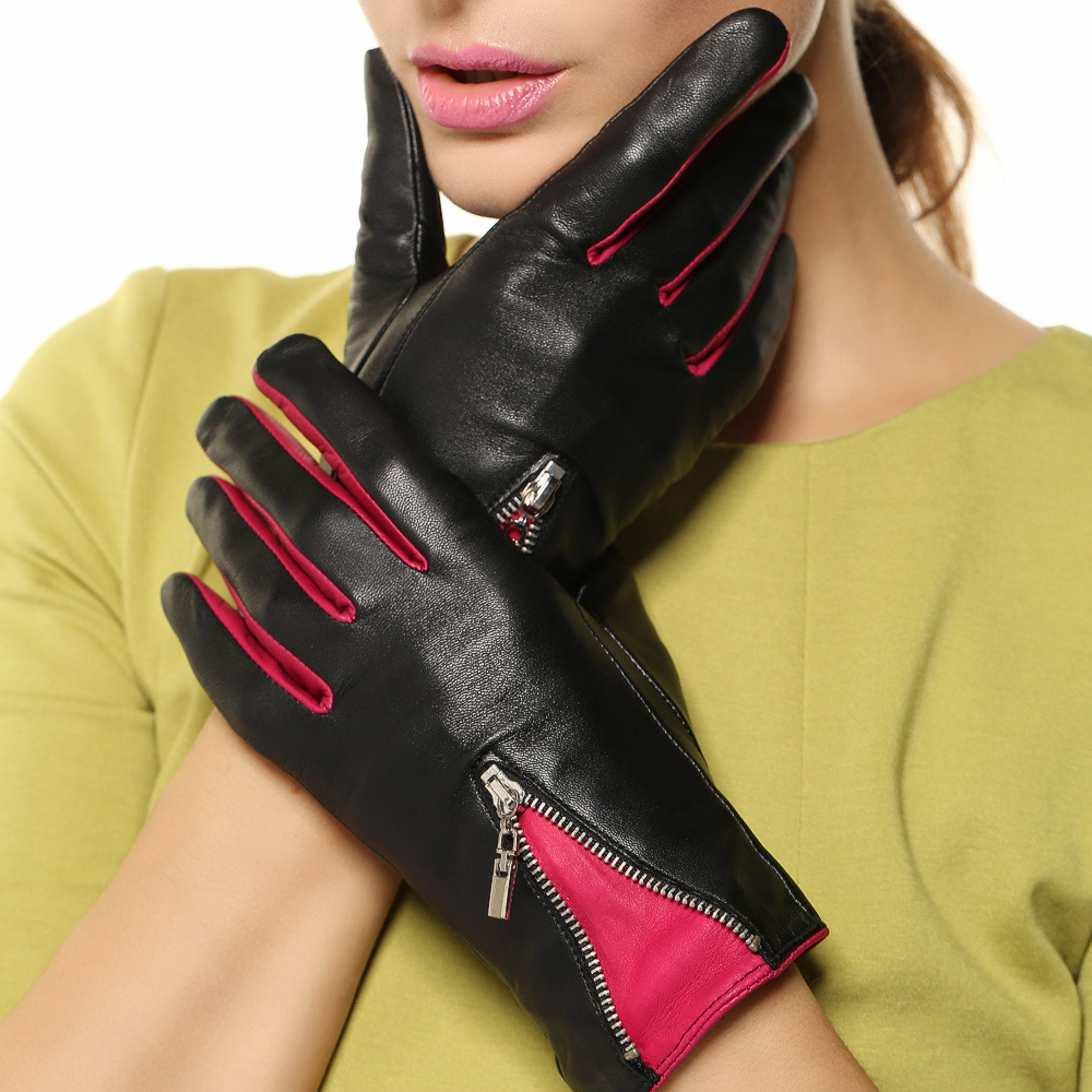 Womens colored leather gloves - Women Genuine Leather Gloves 2017 Top Fashion Contrast Color With Zipper Wrist Thermal Goatskin For Winter