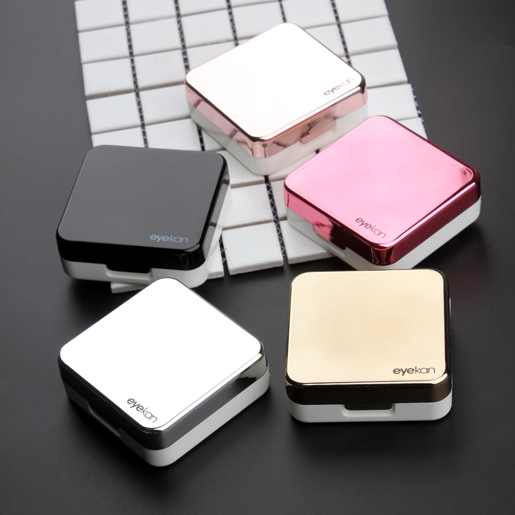 Étui de lentille de contact de couverture réfléchissante de haute qualité avec étui pour lentilles de contact de couleur miroir