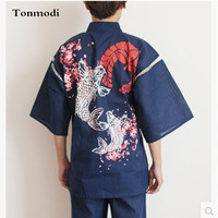 kimono Pajamas Men Spring and summer 100% cotton bathrobe japanese style sleepwear lounge flower Pajamas Set