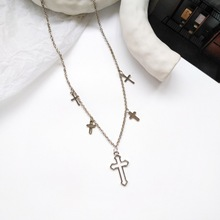 Fashion versatile metal retro European style personality cross shape necklace everyday wear with street snap