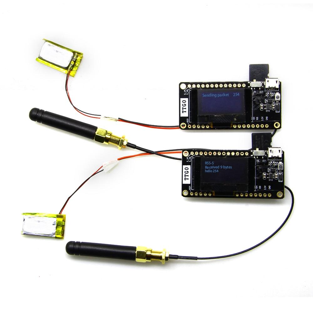 2 stücke TTGO LORA32 V2.0 433/868/915 mhz ESP32 LoRa OLED 0,96 zoll SD Karte Blau Display ESP-32 WIFI Bluetooth Modul