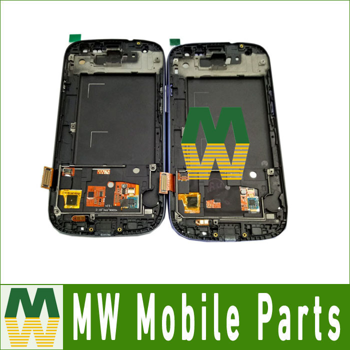 1 PC / Lot High Quality For Samsung Galaxy S3 i9300 4.7 inch LCD +touch screen with frame White & Blue Color