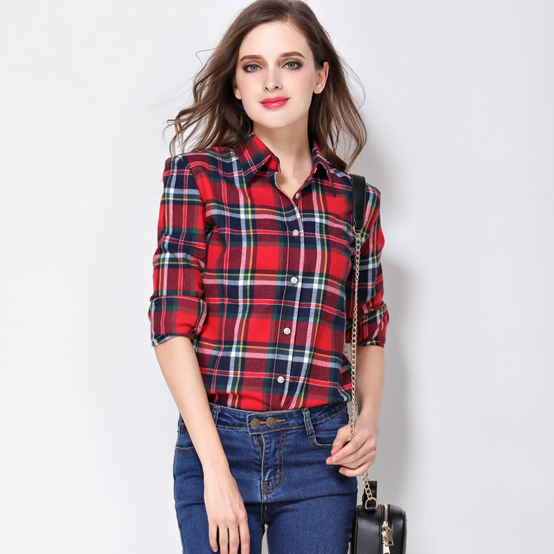 Shirt Wanita Blaus Plus Size 2019 Hot Spring Spring Flannel Cotton Long Sleeve Plaid Shirt Casual Female Loose College Style Tops