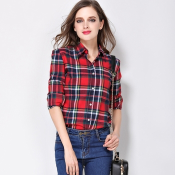 Women Shirt Blouses Plus Size 2019 Hot New Spring Flannel Cotton Long Sleeve Plaid Shirt Casual Female Loose College Style Tops Women Shirts