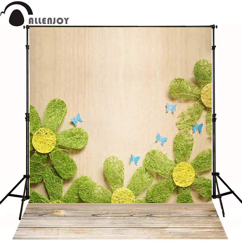 Kate Photographic background Wood flower green butterfly newborn vinyl backdrops  lovely princess photo for studio custom vinyl floral flower newborn backdrops cartoon unicorn photography background studio photo props 5x3ft