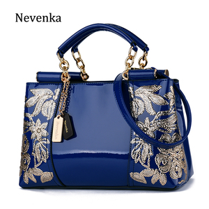 Image 1 - Nevenka Embroidery Women Bag Leather Purses and Handbags Luxury Shoulder Bags Female Bags for Women 2019