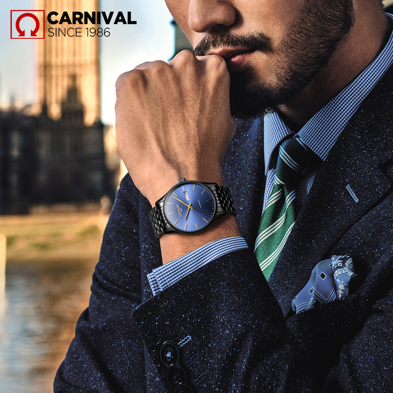 Carnaval Mannen Automatische Horloge Ultra Dunne Korte Datum Dag 25 juwelen Luxe Mechanische Horloge Gift - 2