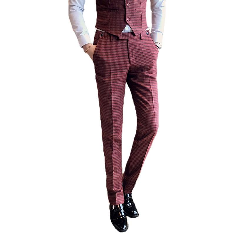 2018 Männer Roten Anzug Hosen Mode Fit Elegante Männer Kleinkariert Hosen Größe 29 30 31 32 33 34 Unterscheidungskraft FüR Seine Traditionellen Eigenschaften