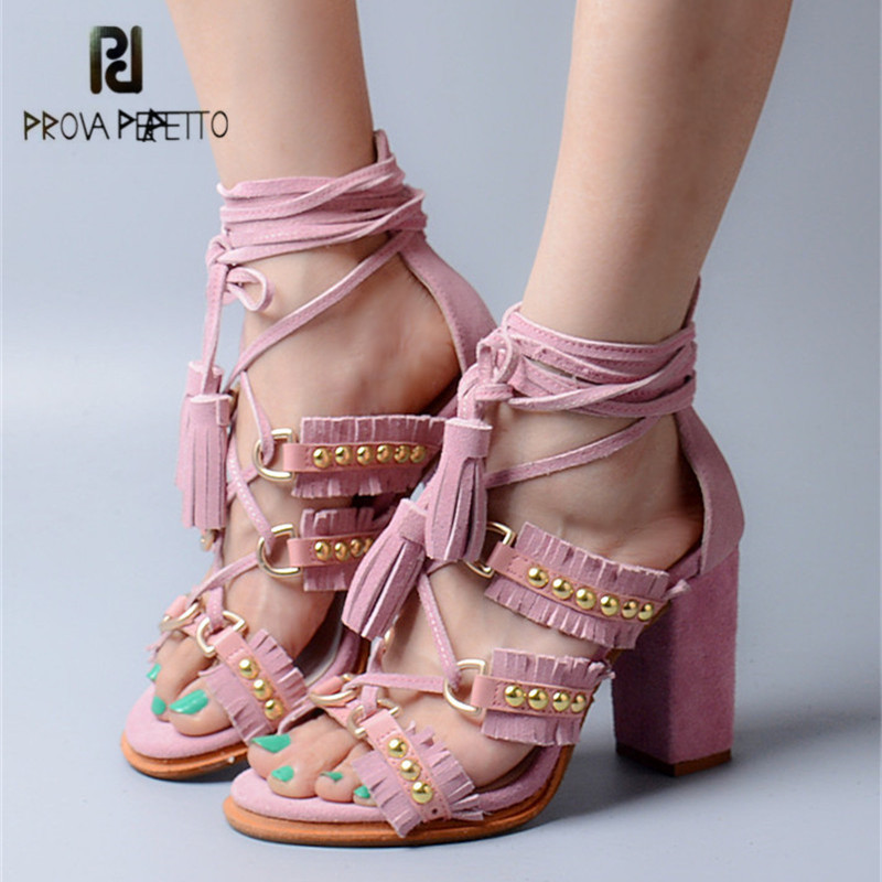 цена на Prova Perfetto Pink Suede Summer Women Sandals Fringed Chunky High Heels Lace Up Rivets Studded Gladiator Sandal Women Pumps
