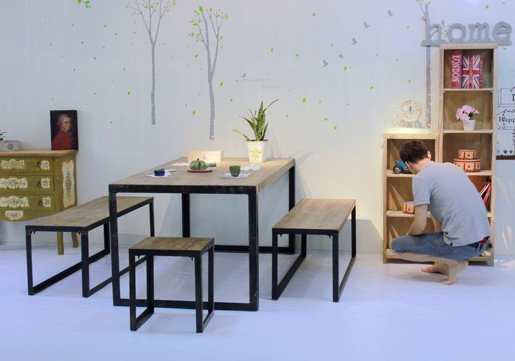 Loft país de américa muebles, hierro mesa de madera para hacer el ...