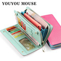 YOUYOU MOUSE Genuine Leather Wallet Women Design Wallet Panelled Clutch Women Cowhide Purse Zip & Hasp Cion Pocket Card Holder