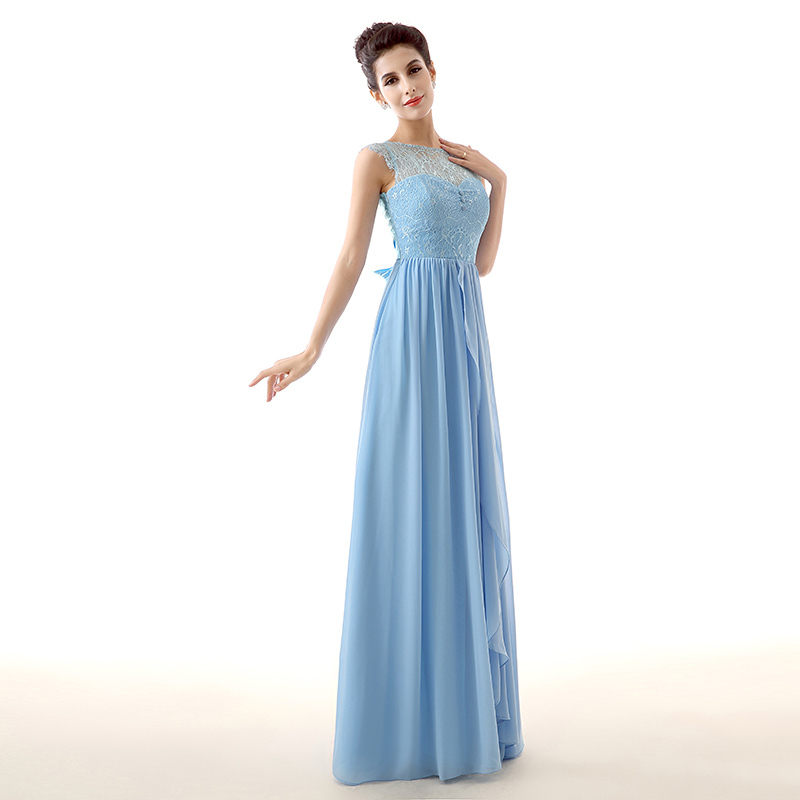 Blue Long Bridesmaid Dress A Line Lace Chiffon Wedding Party Gown Plus Size Vestido De F ...