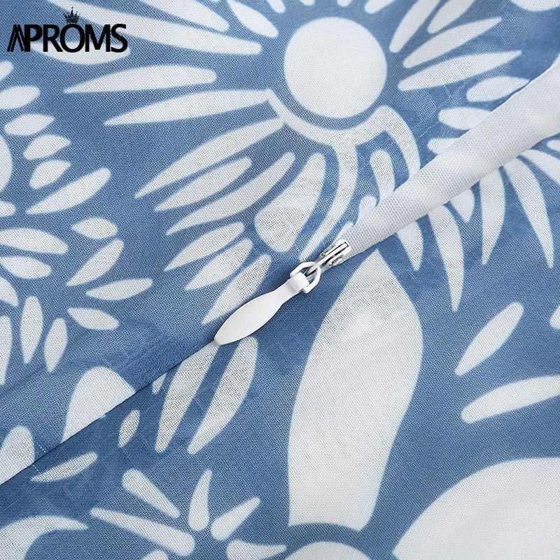 Aproms Элегантное летнее шифоновое платье с открытой спиной и галстуком женские синие короткие платья с цветочным принтом красивые пляжные сарафаны для девочек Vestidos
