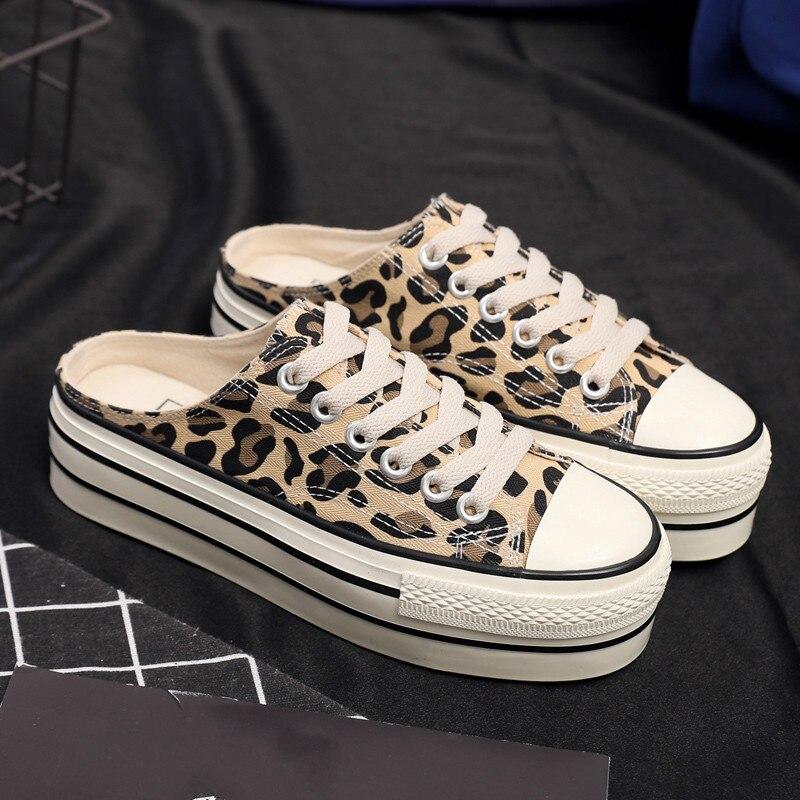 Women Flats Leopard Lace up Comfort