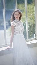 Bohemia Short Sleeve A-line Wedding Dress High Neck Applique Chiffon Vestido De Noiva NM 612