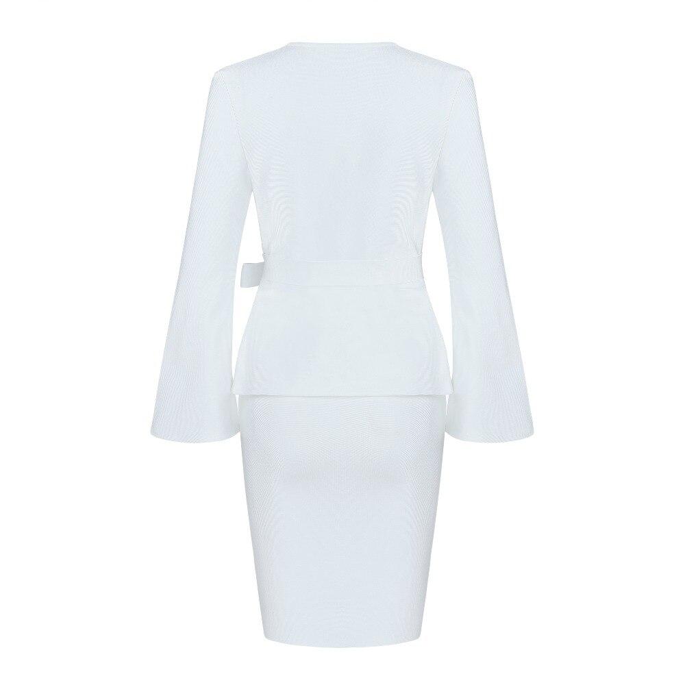 4f7b39e2a0c Neue ausschnitt Langarm Weiß Vestidos Kleider Promi Zwei stück Elegante V  Abend Frauen Kleid 2019 Party Großhandel Verband lFJKcT31