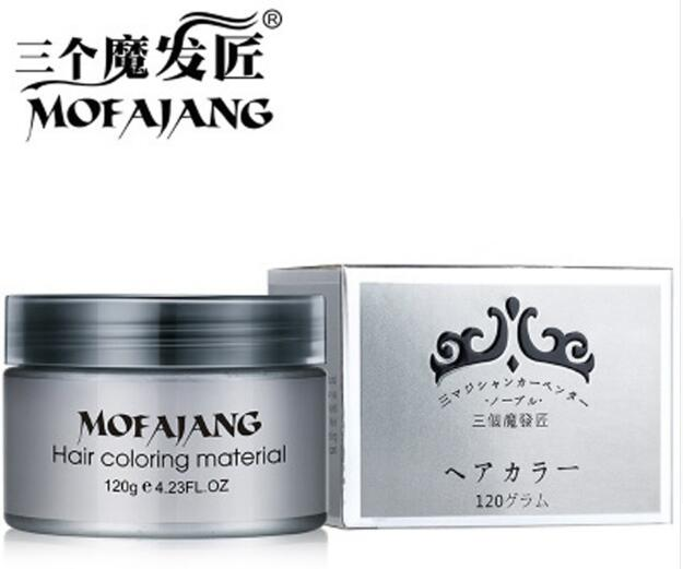 MOFAJANG One-time Molding Paste Hair Color Wax 7Color Choose White Purple Gray Silver Ash Hair Color Wax Mud 120g