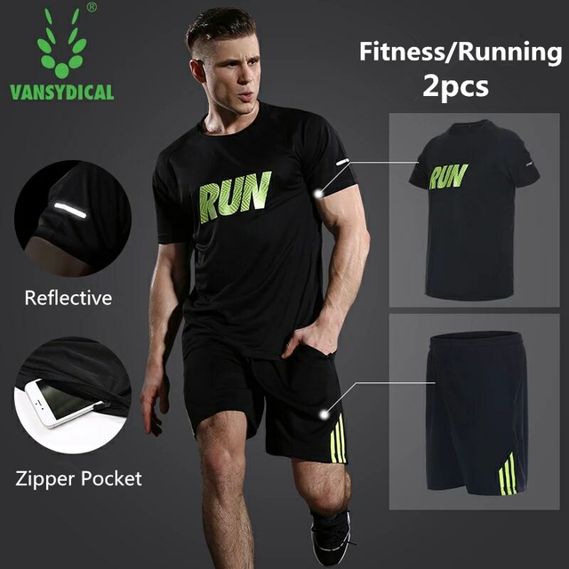 e8f34dc949 Vansydical Running Shorts Mens Gym Shirts Shorts Set 2pcs Workout Tracksuit  Fitness Sportswear Basketball Tights Sports Suits