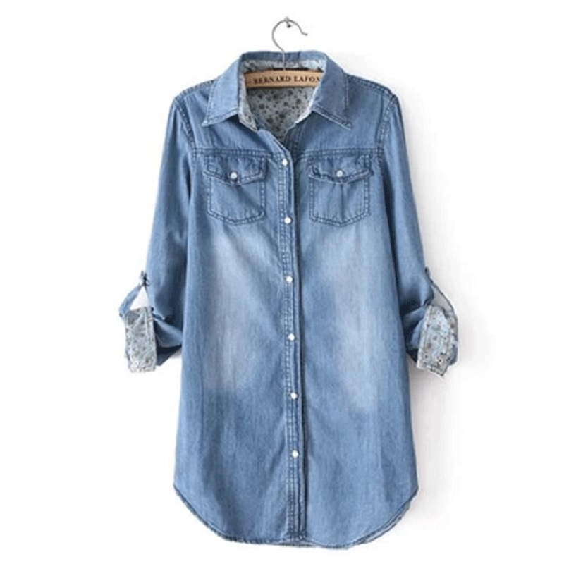 New Spring/autumn Women's Clothing Cotton Shirts Denim Shirts  Cowboy Shirts Maternity Clothing Washed Blouses S-3xl Size Blue
