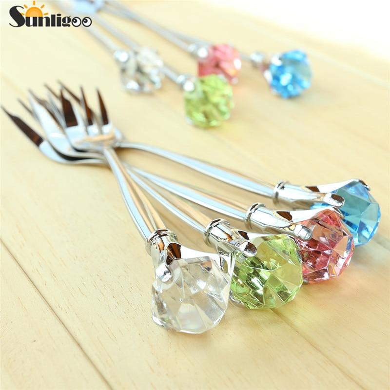 Sunligoo 2ks Classy Crystal Diamond Stainless Steel Short Spoon + Fork Table Set Set Muddler Zcela nový