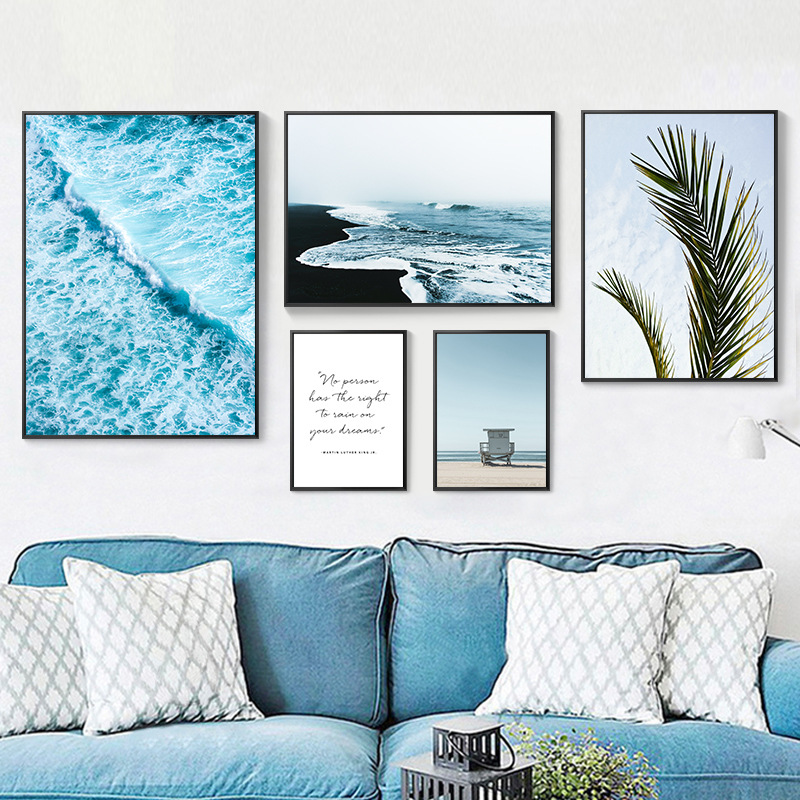 Southeast Asia Beach Tropical Scenery Leaves Canvas Painting Room Decoration Blue Ocean Poster Abstract Text Wall Picture