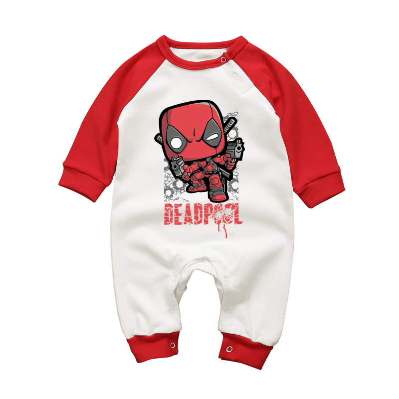 Cartoon Deadpool Baby Rompers Autumn Winter Cotton Baby Boys Clothes Infant Girl Clothing Jumpsuits NewbornLong Sleeve Outfits mother nest 3sets lot wholesale autumn toddle girl long sleeve baby clothing one piece boys baby pajamas infant clothes rompers
