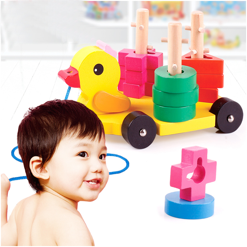 Candice guo wooden toy wood block duck pull cart board cannula pillar vehicle shape macth game birthday gift christmas present