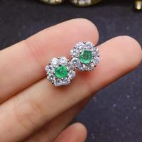 Classic green emerald gemstone earrings for beauty silver fine jewelry natural gem stud earring girl women party birthday gift