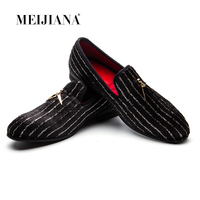 MEIJIANA Striped Loafers Men Flats Crystal Slippers Black/Red Suede Slip-on Strass Dress   Shoes   Wedding Party