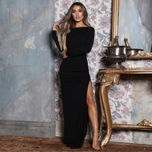 Autumn Winter Women Long Dresses Fashion Hollow Out Backless Sexy Long Sleeve Bodycon Dress Solid Color Slim Maxi Dress Vestidos