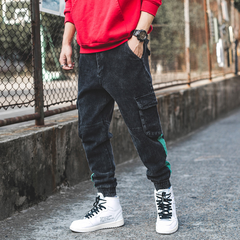 Japanese Style Fashion Men Jeans Jogger Pants Ankle Banded Big Pocket Cargo Pants Autumn Winter Hip Hop Stripe Patch Punk Jeans