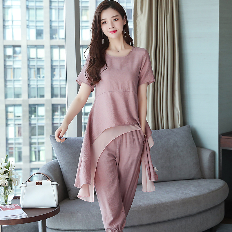 2019 Summer Linen Two Piece Sets Women Plus Size Short Sleeve Tops And Cropped Pants Suits Office Elegant Casual Women's Sets 48