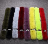 European Hot sale Trendy Real fox fur scarves Ladies plush candy color genuine fox fur muffler scaves wholesale