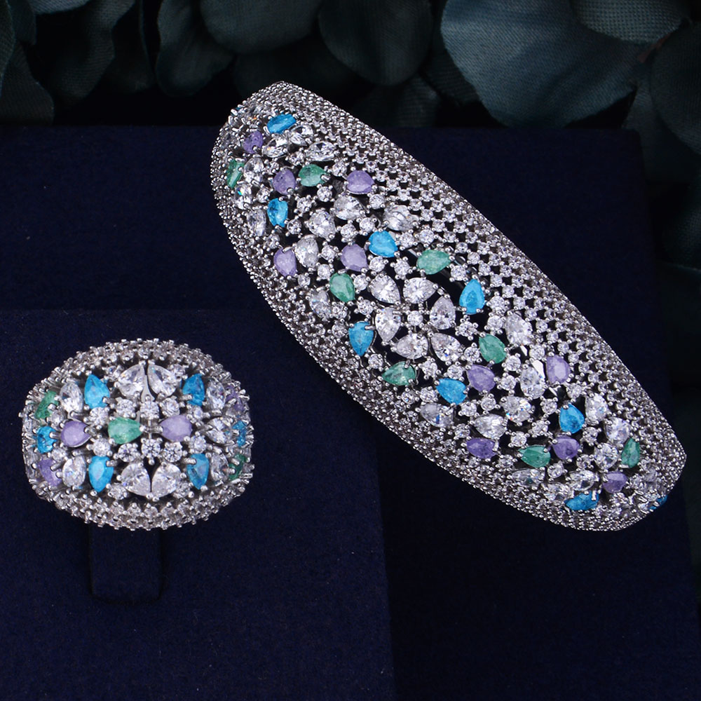 GODKI Multicolor Ice Zirconium Luxury Full Micro Cubic Zirconia Geometry Women Bracelet Bangle Ring Set Dress Jewelry Sets