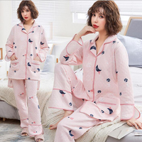 Cotton Maternity Nightgown Breastfeeding Pajamas Sleepwear For Pregrancy Thicken Warm Month Clothes A163