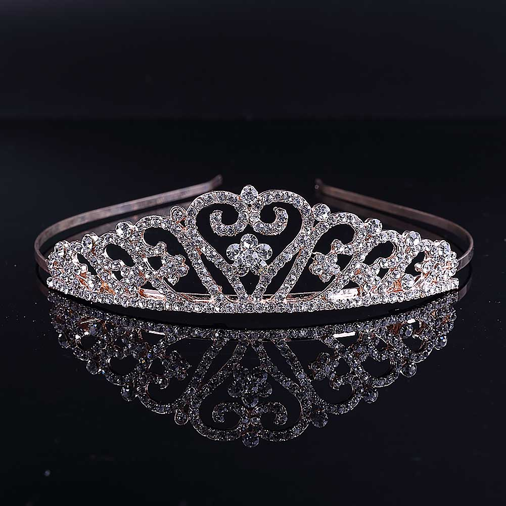 Fashion Korean Rhinestone Heart Tiaras and Crowns Bridal Headband Headpiece Engagement Wedding Hair Jewelry Accessories LB