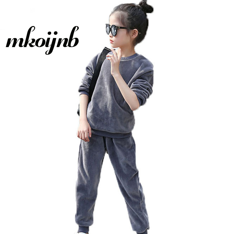 Girls Sport Suit Girls Clothing Set Velvet Pullover+Pants 2Pcs Kid Tracksuit Spring Autumn Children Clothes 4 6 8 10 12 Years spring autumn fashion children clothes full sleeve t shirt and pants 2pcs handsome gentleman suit boy clothing set kid tracksuit