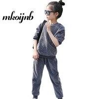 Girls Sport Suit Girls Clothing Set Velvet Pullover+Pants 2Pcs Kid Tracksuit Spring Autumn Children Clothes 4 6 8 10 12 Years